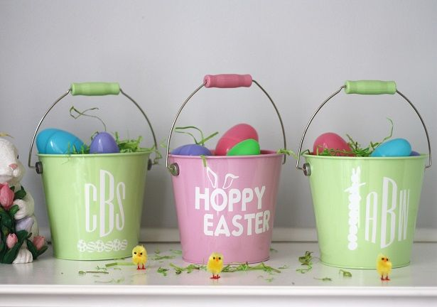Personalized Easter Pails made with the Cricut Explore Air | Kim Byers