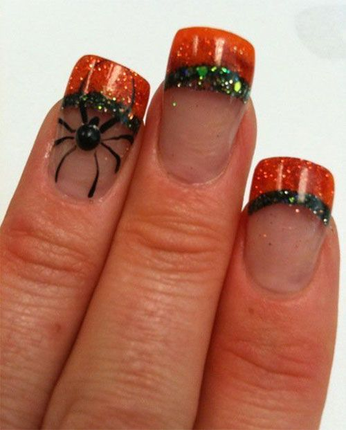 30 best halloween nails images on pinterest halloween nail my nails halloween nails fall nails orange and green glitter acrylic nail art prinsesfo Image collections