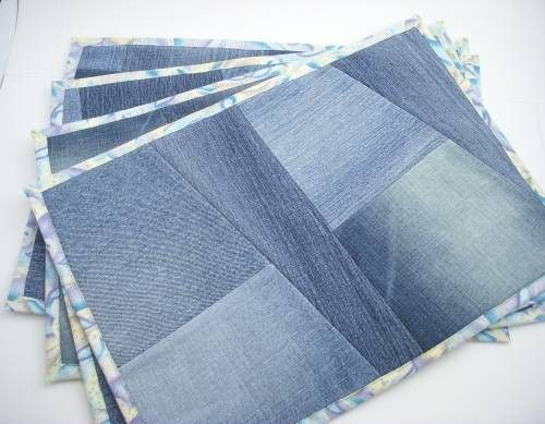 Recycled Denim Placemats. No instructions; wonder if I could make something similar?
