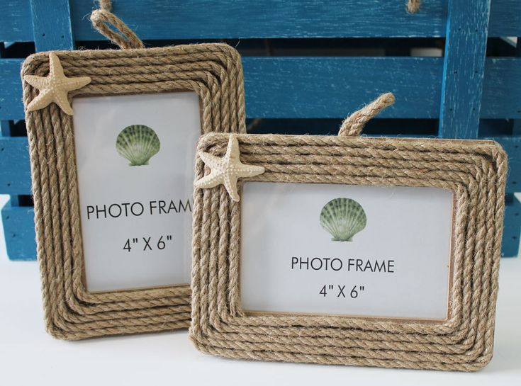 rope picture frames with starfish 4x6 set of 2