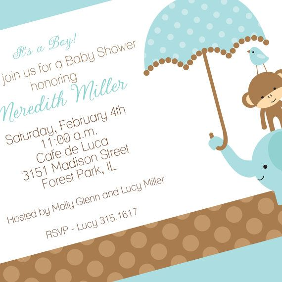 Jungle Baby Shower or 1st Birthday Invitation, Printable Invitation Design, Custom Wording, JPEG File
