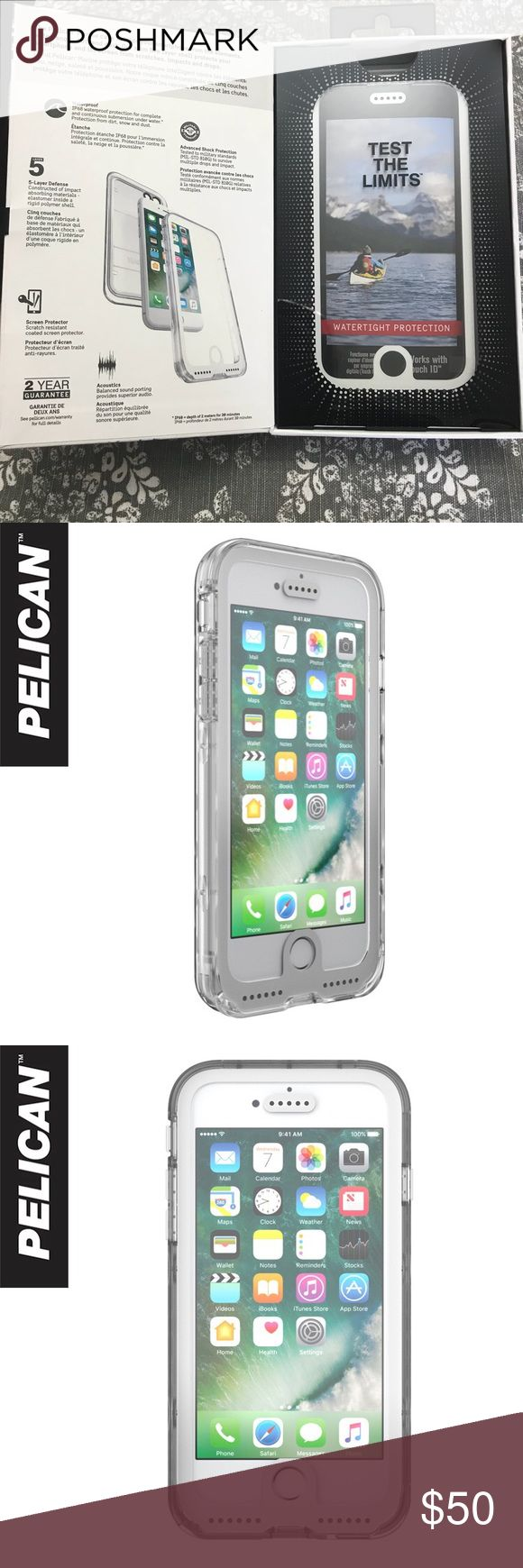 NWT Pelican Marine Clear iPhone 7 Case Case protects phone from elements of water, snow, dirt and dust. Also protects phone from scratches and drops. Never used. Pelican Accessories Phone Cases