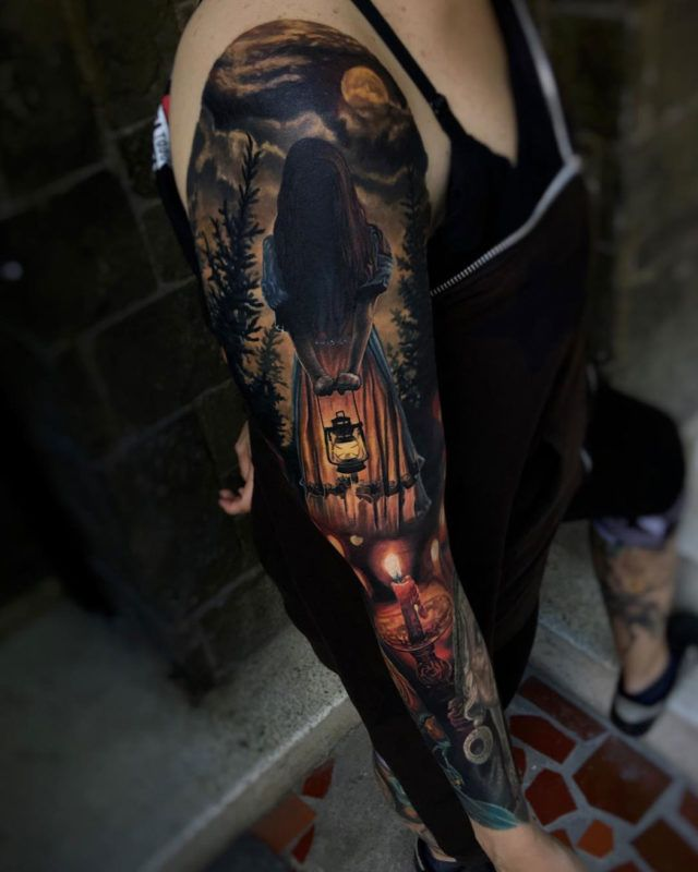Dark Witch Uncategorized Arm Tattoos Candle Evil Girls Horror