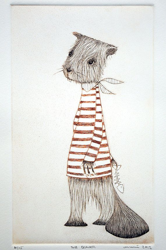 Afternoon Tea No. 13 The Beaver Drypoint by minu on Etsy