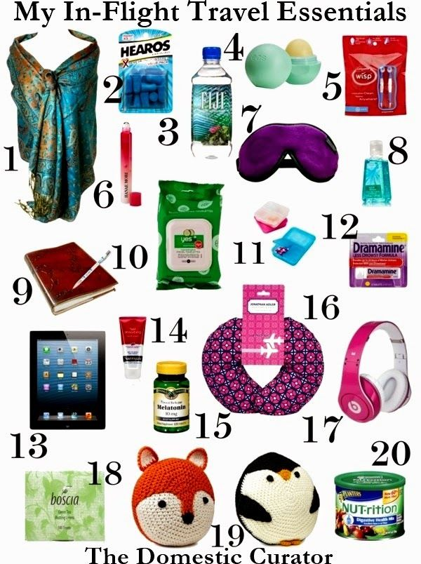 My In-Flight Travel Essentials - Traveling can be a stressful experience and I like to have certain things with me that aid in my comfort. These are my top twenty picks.