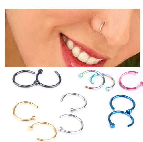 Aliexpress.com : Buy 2pcs Piercing Nose Ring Nose Hoop Stainless Steel Silver Gold Earrings Fake Piercings Body Jewelry Nose Rings from Reliable ring suppliers on ZL Jewelry Factory (Wholesale and Retail)  | Alibaba Group