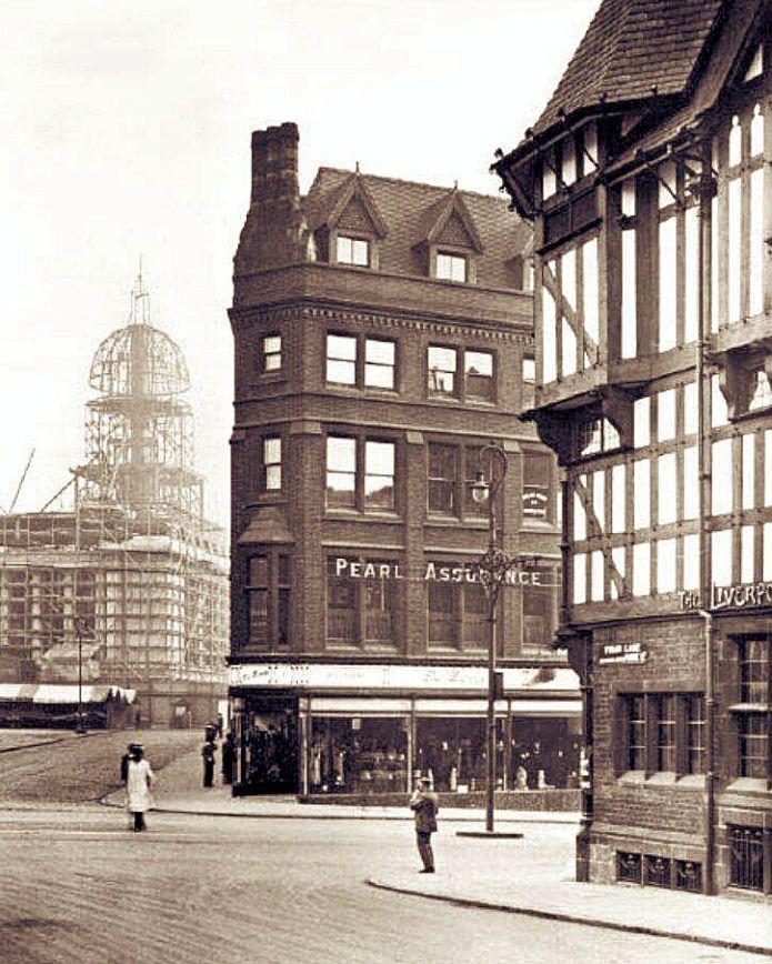 Corner of Friar Lane and Wheeler Gate, Nottingham, c1928.