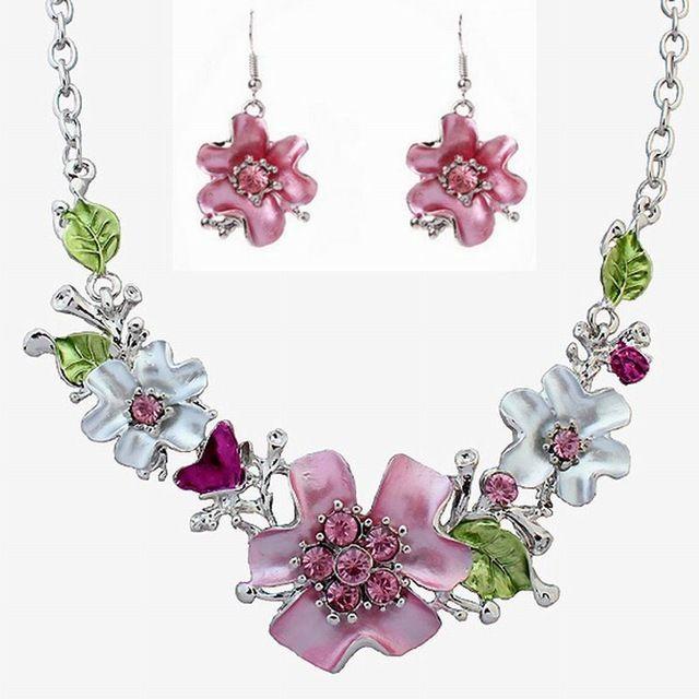 Seling caliente de plata plateó la flor del esmalte sistemas de la joyería de moda africana collar y aretes de joyería de boda para para FW228