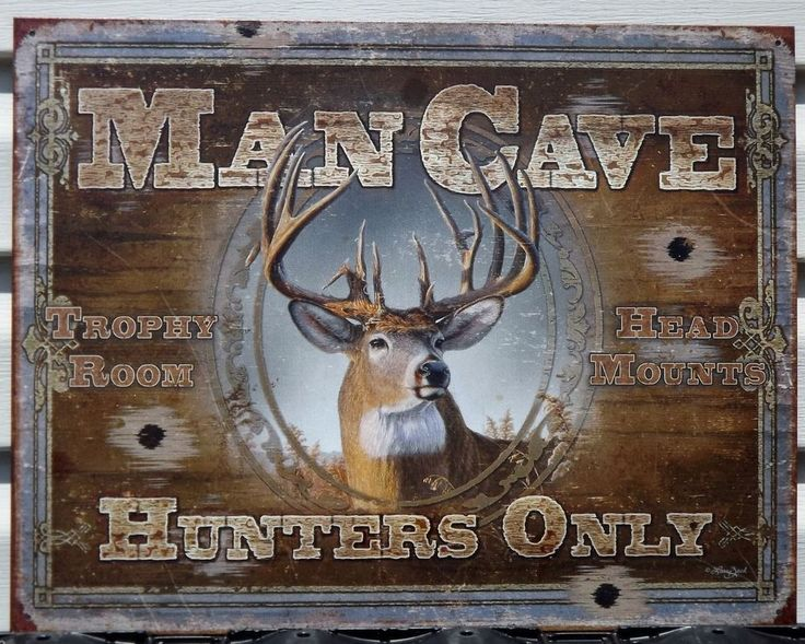 Deer Buck Hunting Hunters Only Man Cave Gun Duck Game Cabin Vintage Tin Sign