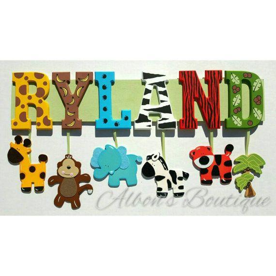 8 Letter Name Custom Jungle Zoo Safari Themed Name Sign