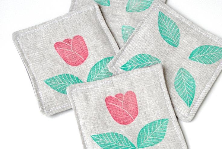 Posavasos de tela estampados a mano - Handprinted fabric coasters by Arigato Bcn on  Etsy