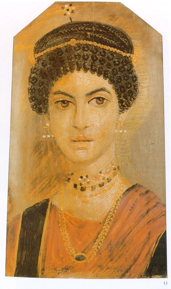 .Depiction of a woman with a ringlet hairstyle, an orange chiton with black bands and rod-shaped earrings. Royal Museum of Scotland.