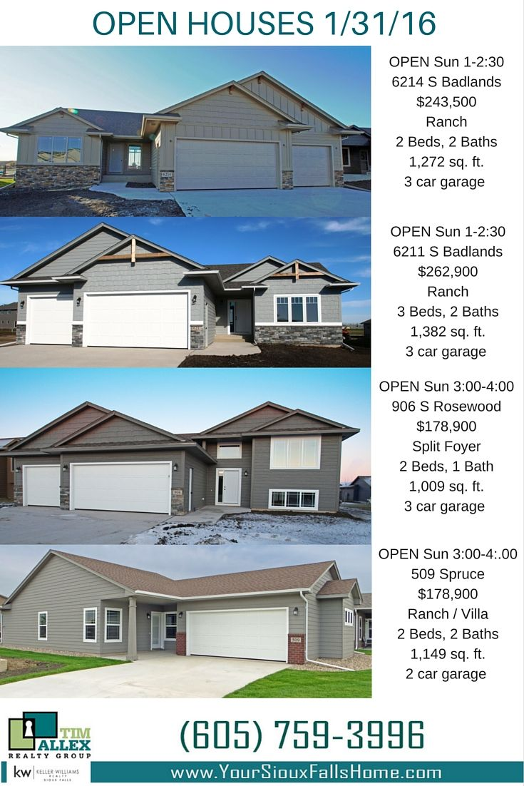 Open Houses for 1/31/16 View these fantastic Sioux Falls homes built by Allen Homes.