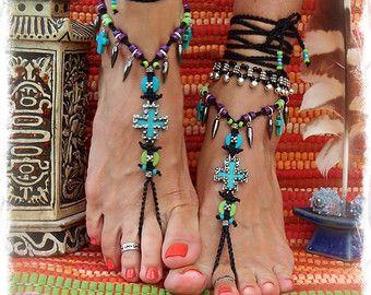 NEON green BAREFOOT sandals LEAF Pink Bikini jewelry por GPyoga                                                                                                                                                                                 Más