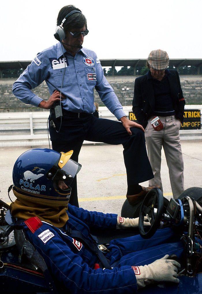 Ronnie Peterson together with Ken Tyrrell, ELF Tyrrell-Ford P34, 1977 German Grand Prix, Hockenheimring