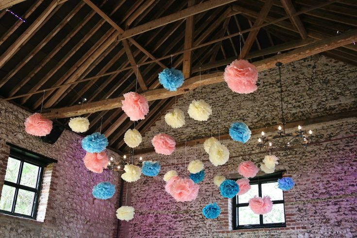 large paper pom poms at the granary barns, suffolk