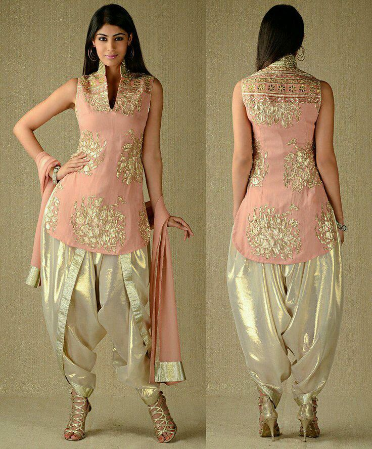 Glossy peach suit with dhoti style salwar