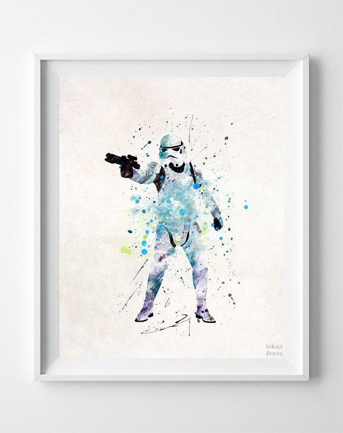Star Wars Print, Stormtrooper Art, Watercolor Art, Baby Room Decor, Baby Shower Gift, Map Art, Illustration, Modern Art, Valentines Day Gift by InkistPrints on Etsy https://www.etsy.com/listing/248002422/star-wars-print-stormtrooper-art