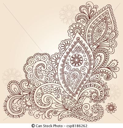 Vector - Abstract Henna Doodle Vector Design - stock illustration, royalty free illustrations, stock clip art icon, stock clipart icons, logo, line art, EPS picture, pictures, graphic, graphics, drawing, drawings, vector image, artwork, EPS vector art