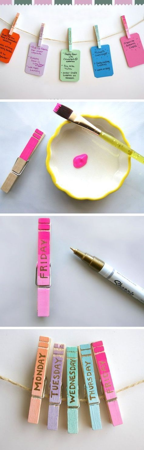 Clothespin Daily Organizers | 23 Life Hacks Every Girl Should Know | Easy Organization Ideas for Bedrooms: http://www.smyblog.com/blog/: