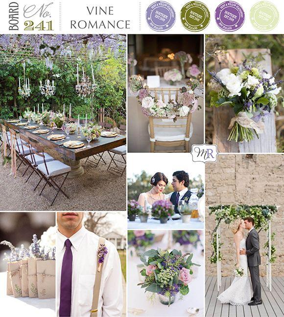 Vine Romance Inspiration Board #purplewedding #vineyardwedding