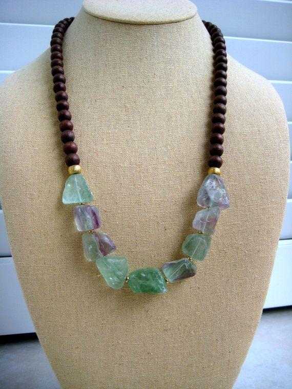 Green Fluorite Boho Necklace by BeadBashStudio on Etsy