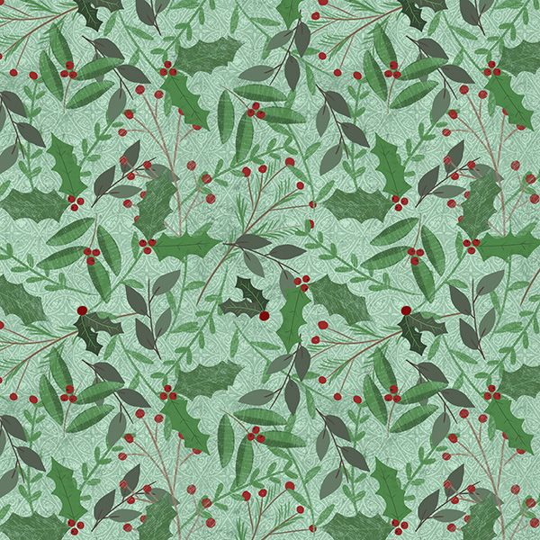 Wilmington Prints Frosted Holiday by Katie Doucette Green Sprigs All Over | Quilting | Fabric
