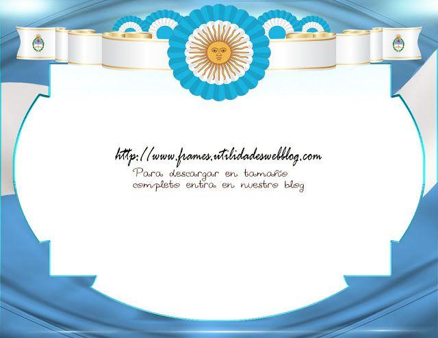 Marco para fotos con  la bandera escudo y escarapela de Argentina