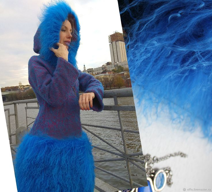 Купить Пальто из буклированной шерсти с отделкой из меха в интернет магазине на Ярмарке Мастеров