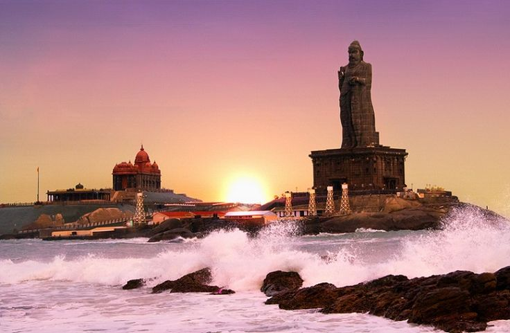 Kanyakumari ( The meeting point of three oceans-the Bay of Bengal, the Arabian Sea and the Indian Ocean), Tamilnadu, India