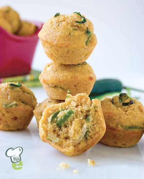 Jalapeño Corn Muffins: Instead of fried jalapeño poppers, try these tasty mini corn muffins. Make a healthy pot of chili and serve these delicious corn muffins on the side. For a milder muffin, use chopped bell pepper instead of jalapeños.