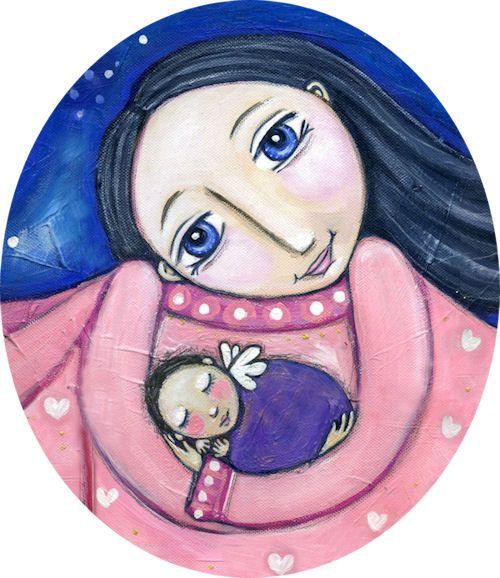 Moeder en Baby met Puma Art Print kinderkamer door LindyLonghurst