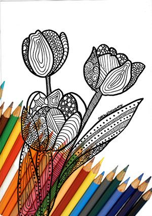 Tulip coloring page zentangle digital download printable A4 drawing black and white color abstract relaxing zen print