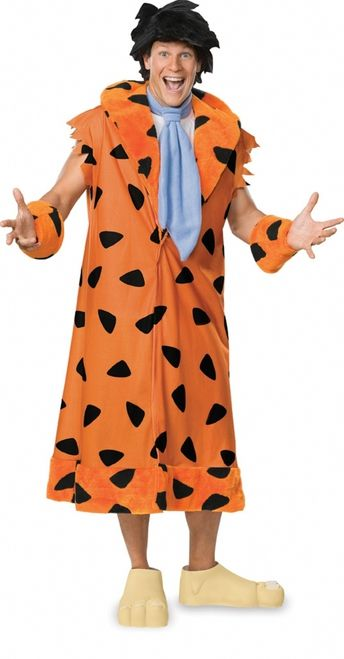 Fred Flinstone Cartoon Character Costume - The trademark cartoon character Fred Flintstone stone ages costume screams yaba daba doo. The costume comes with an over the head tunic jacket with an open V in the front and attached down the bottom. It's orange fleece with black spots and a plush lapel. The costume comes with matching plush wrist cuffs and a blue fleece tie that Velcro's behind the neck. #flintstones #tv #movies #yyc #costume