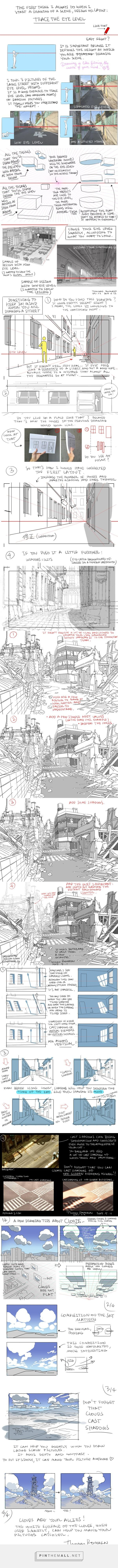 """Tips for Drawing Backgrounds"" by Thomas Romain*   • Blog/Website 