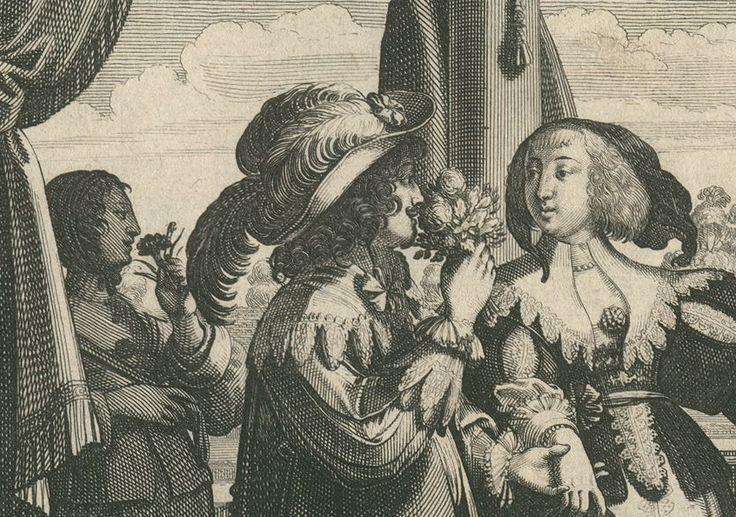 L'odorat par Abraham Bosse (détail sur le bouquet)
