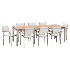 Arezzo Reclaimed Teak Table 2500 with 8 Arezzo White Batyline Sling Chairs Package