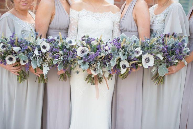 Bridesmaids Bouquet Purple Wheat Flowers Copper Dusky Lilac Grey Rustic Barn Wedding http://www.kayleighpope.co.uk/