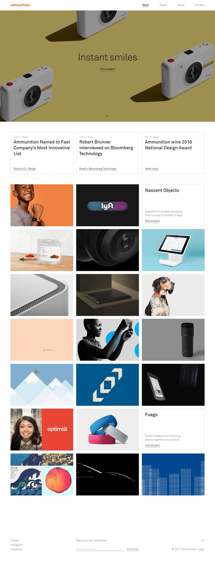 Ammunition Group http://mindsparklemag.com/website/ammunition-group/ Ammunition Group is a design studio dedicated to bringing products and services that matter to market. Their website is awarded as site of the day.