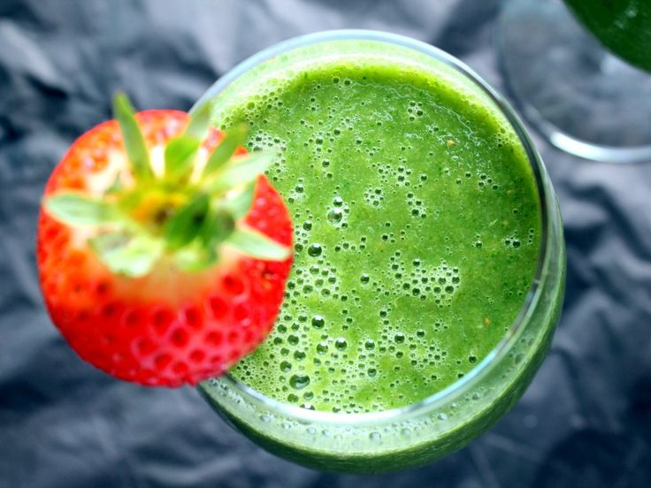 Vegan Detox Green Monster Smoothie {with kale, strawberry, cucumber, & banana} by ambitiouskitchen #Smoothie #Green #Kale #Strawberry #Cucumber #Healthy