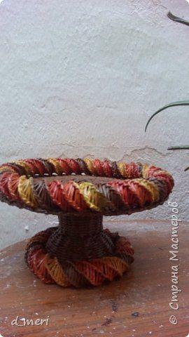 Поделка изделие Плетение Fruktiera Трубочки бумажные фото 1