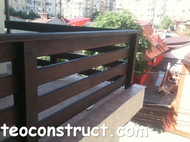 balustrade din lemn rustice pentru terasa 02