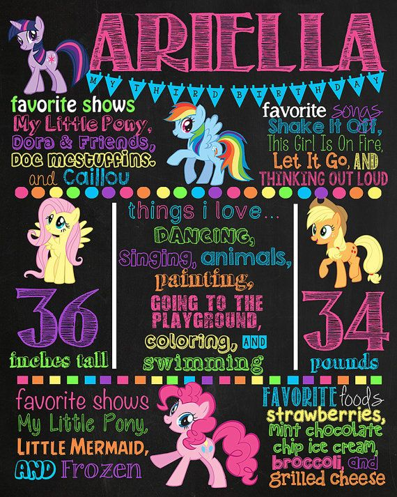 My Little Pony Birthday Chalkboard Poster by VickiTsCreations