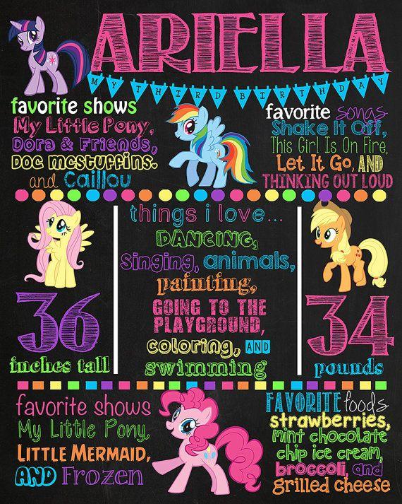 Mi pequeño Pony cumpleaños pizarra cartel por VickiTsCreations