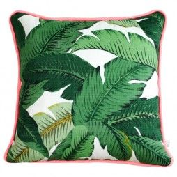 Palm-tree cushion with pink piping.