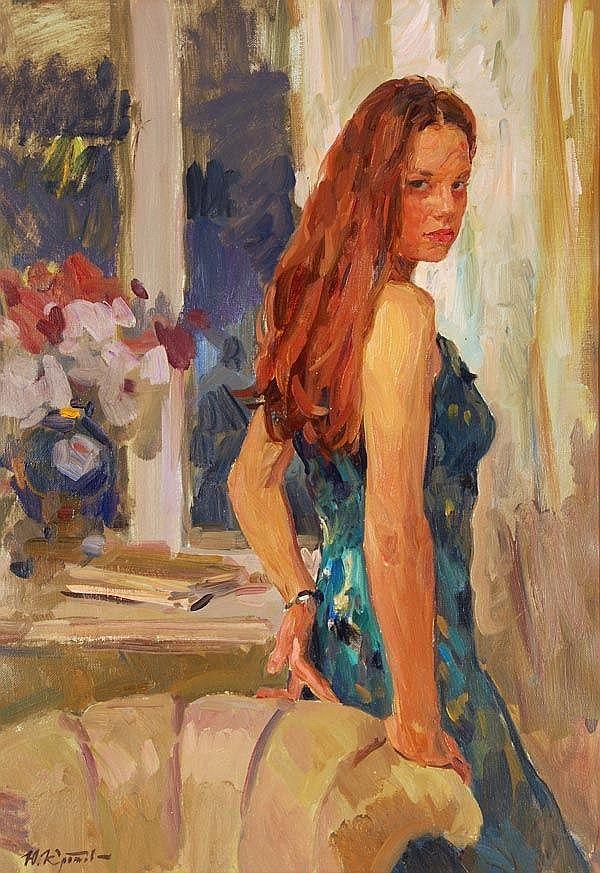 Yuri Krotov (b. 1964), Evening portrait, Oil on - by Dreweatts & Bloomsbury