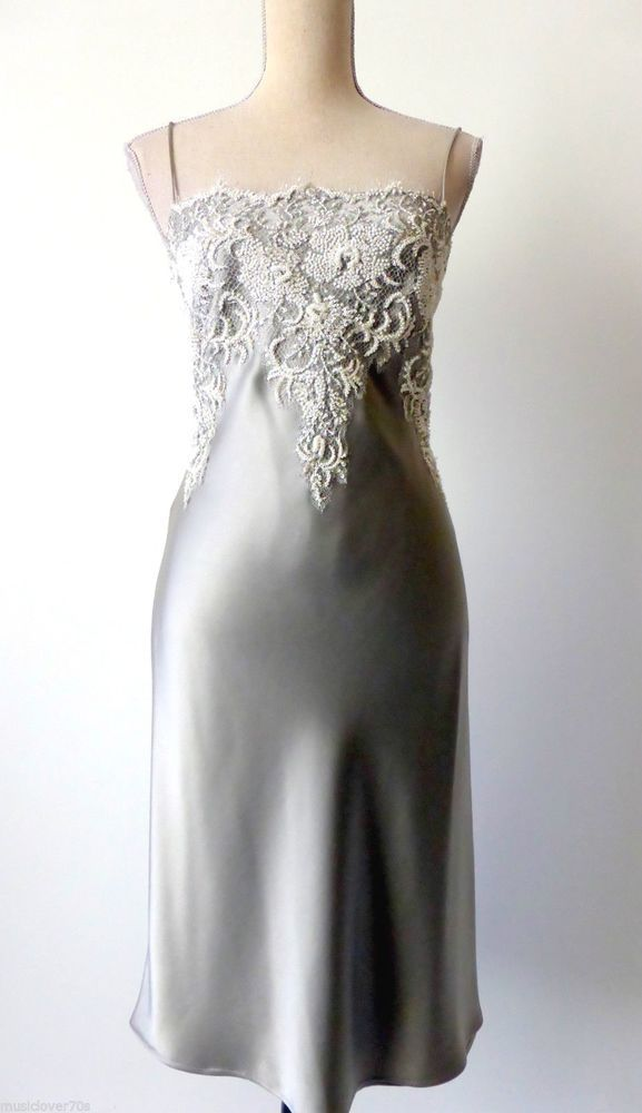 GEORGE GROSS Size 8  US 4 Beaded Silver Slip Dress with French Lace rrp $1200.0 #GeorgeGross #Slip #Evening
