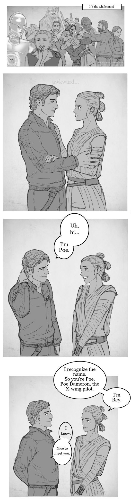 The lost Rey/Poe meeting from the TFA novelization by milady-666