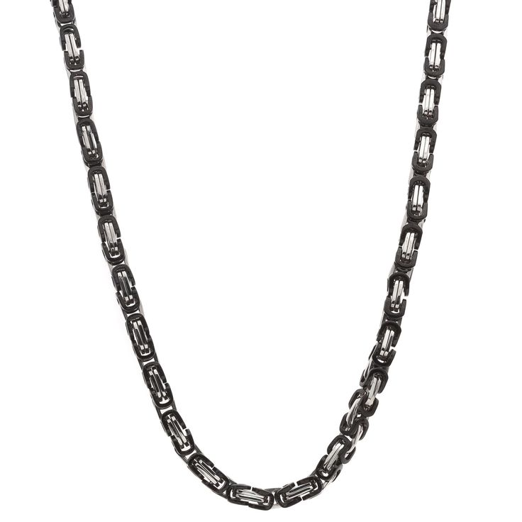 Stainless steel neck chain feature black ion-plated u-links. Metal: Stainless steel Style: Chain Finish: High polish Chain length: 24 inches Clasp: Lobster claw Metal weight: 62 grams Necklace dimensi