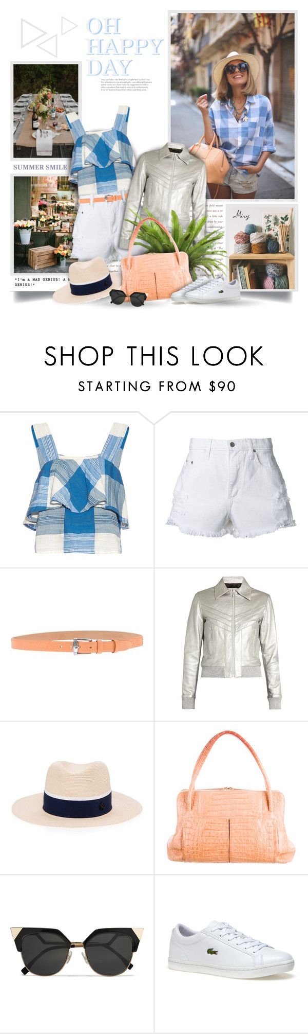 """""""Sweet Little Sunday"""" by thewondersoffashion ❤ liked on Polyvore featuring ace & jig, Nobody Denim, Yves Saint Laurent, Maison Michel, Nancy Gonzalez, Fendi and Lacoste"""